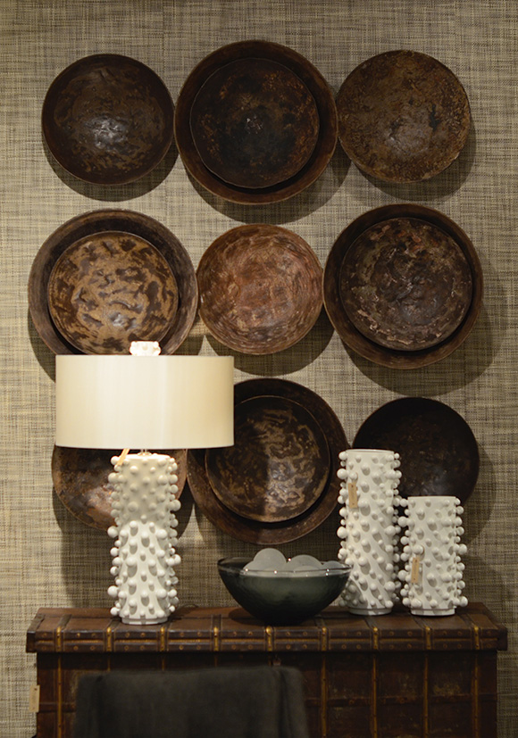 Wall Statement: Iron-Bowls. rare Studio A Home pieces; all for sale in the showroom only  https://www.studioa-home.com