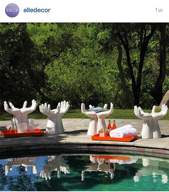 EDmodern, Elle Decor Instagram, Global Views Hands Stools