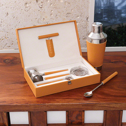 Boxed Bar Tool Set- leather camel and stainless