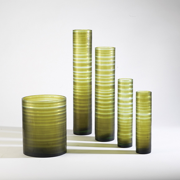 Moss Bamboo Vases and Orchid Pot