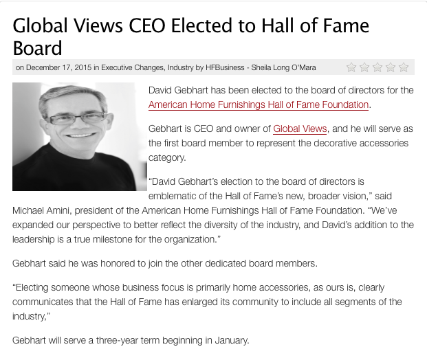 David Gebhart, Hall of Fame