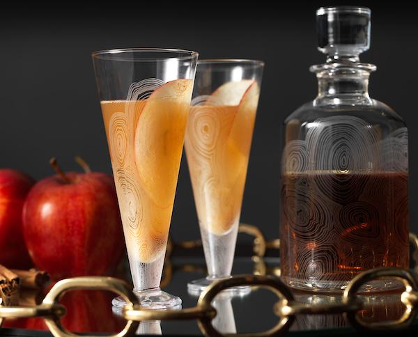 detail of bourbon apple pie craft cocktail